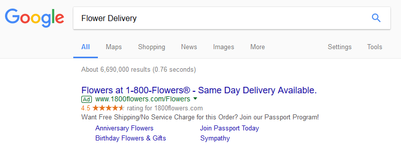 Flower delivery Google ads search result